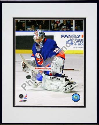 """Rick DiPietro 2009 - 2010 Action """"Defend"""" Double Matted 8"""" x 10"""" Photograph in Black Anodized Aluminum Fra"""