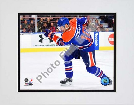 "Shawn Horcoff 2009 - 2010 Action ""Blue Jersey"" Double Matted 8"" x 10"" Photograph (Unframed)"