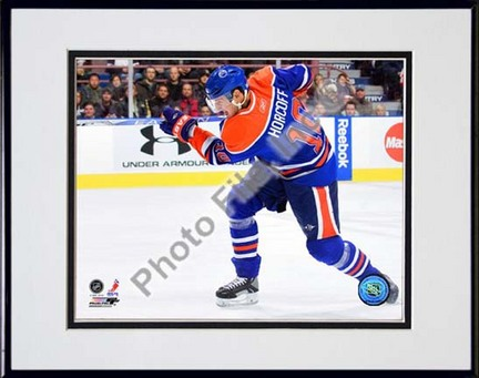 """Shawn Horcoff 2009 - 2010 Action """"Blue Jersey"""" Double Matted 8"""" x 10"""" Photograph in Black Anodized Aluminu"""
