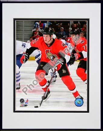 """Chris Neil 2009 - 2010 Action """"Red Jersey"""" Double Matted 8"""" x 10"""" Photograph in Black Anodized Aluminum Fr"""