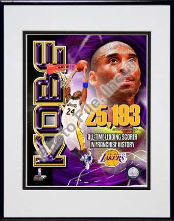 "Kobe Bryant Los Angeles Lakers All-Time Leading Scorer Portrait Plus Double Matted 8"" x 10"" Photograph in Black Anod"