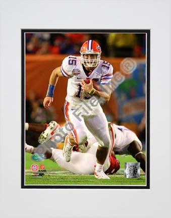 """Tim Tebow Florida Gators 2009 Action """"Run"""" Double Matted 8"""" x 10"""" Photograph (Unframed)"""