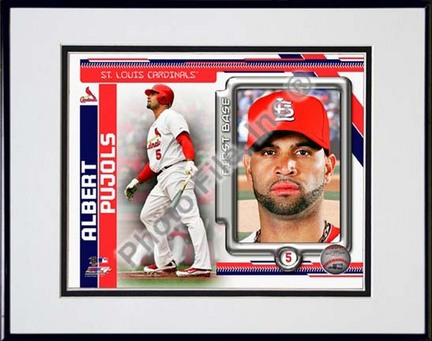 "Sporting Goods Stores Albert Pujols 2010 ""Studio Plus"" Double Matted 8†x 10†Photograph in Black Anodized Aluminum Frame"