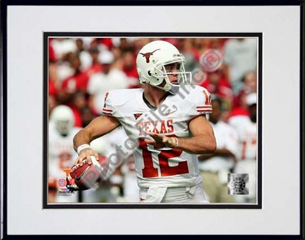 """Colt McCoy Texas Longhorns 2008 Action """"White Jersey"""" Double Matted 8"""" x 10"""" Photograph in Black Anodized"""