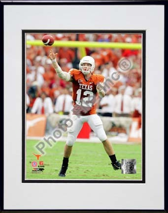"Colt McCoy Texas Longhorns 2007 Action Double Matted 8"" x 10"" Photograph in Black Anodized Aluminum Frame"