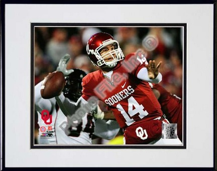 """Sam Bradford Oklahoma Sooners 2008 Action Double Matted 8"""" x 10"""" Photograph in Black Anodized Aluminum Frame"""