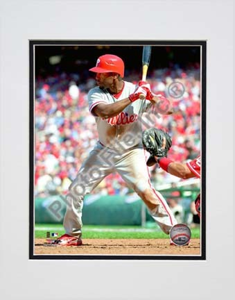 """Jimmy Rollins 2010 Action """"Stance"""" Double Matted 8"""" x 10"""" Photograph (Unframed)"""