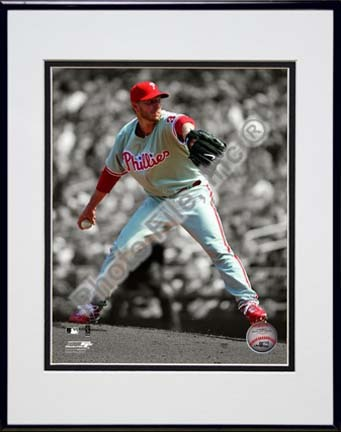 "Roy Halladay 2010 Spotlight Action Double Matted 8"" x 10"" Photograph in Black Anodized Aluminum Frame"