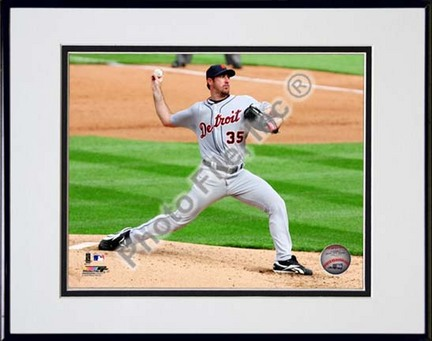 "Justin Verlander 2010 Action ""Pitch Side View"" Double Matted 8"" x 10"" Photograph in Black Anodized Aluminu"