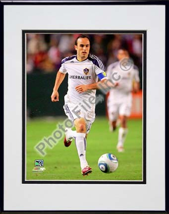 """Landon Donovan 2010 Action Double Matted 8"""" x 10"""" Photograph in Black Anodized Aluminum Frame"""