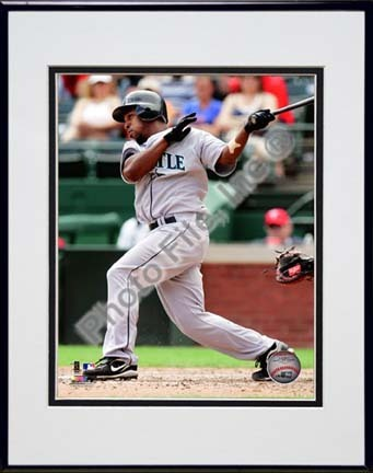 """Chone Figgins 2010 Batting Action Double Matted 8"""" x 10"""" Photograph in Black Anodized Aluminum Frame"""