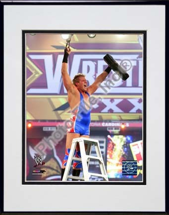 "Jack Swagger Wrestlemania 26 Action Double Matted 8"" x 10"" Photograph in Black Anodized Aluminum Frame"
