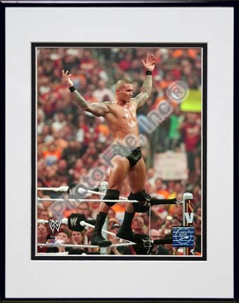 "Randy Orton Wrestlemania 26 Action Double Matted 8"" x 10"" Photograph in Black Anodized Aluminum Frame"