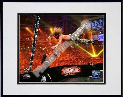 "Shawn Michaels Wrestlemania 26 Action ""Dive"" Double Matted 8"" x 10"" Photograph in Black Anodized Aluminum"