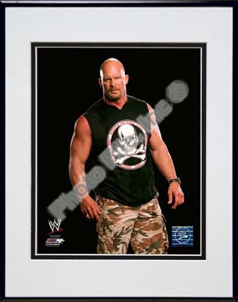 "Stone Cold Steve Austin Posed Double Matted 8"" x 10"" Photograph in Black Anodized Aluminum Frame"