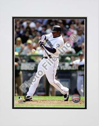 "Ken Griffey Jr. 2010 Action ""Swing"" Double Matted 8"" x 10"" Photograph (Unframed)"
