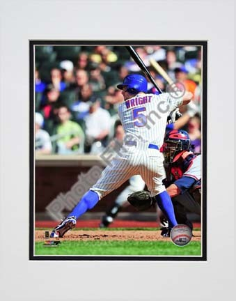 """David Wright 2010 Action """"Back View Stance"""" Double Matted 8"""" x 10"""" Photograph (Unframed)"""