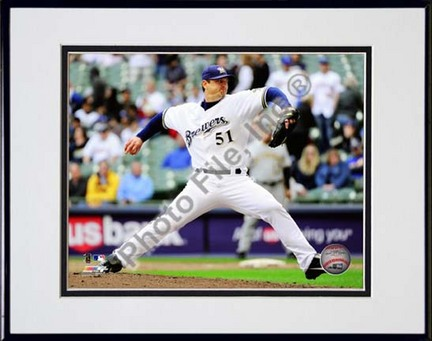 """Trevor Hoffman 2010 Pitching Action """"Pitch Side View"""" Double Matted 8"""" x 10"""" Photograph in Black Anodized"""