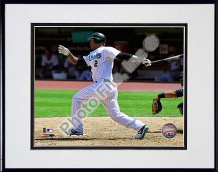 "Hanley Ramirez 2010 Action ""Swing"" Double Matted 8"" x 10"" Photograph in Black Anodized Aluminum Frame"