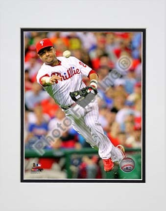 """Placido Polanco 2010 Action """"Throw"""" Double Matted 8"""" x 10"""" Photograph (Unframed)"""