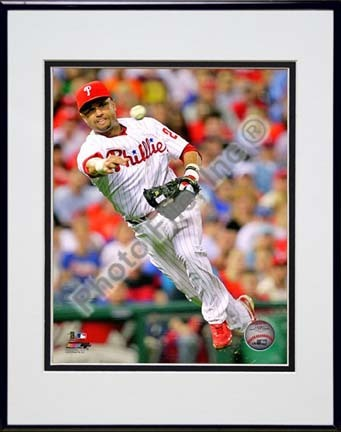 "Placido Polanco 2010 Action ""Throw"" Double Matted 8"" x 10"" Photograph in Black Anodized Aluminum Frame"
