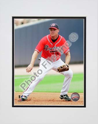 """Chipper Jones 2010 Action """"Red Jersey"""" Double Matted 8"""" x 10"""" Photograph (Unframed)"""