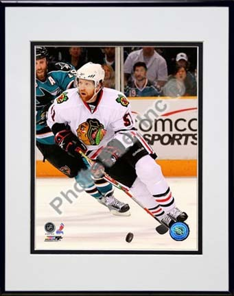 "Brian Campbell 2009 - 2010 Playoff Action Double Matted 8"" x 10"" Photograph in Black Anodized Aluminum Frame"