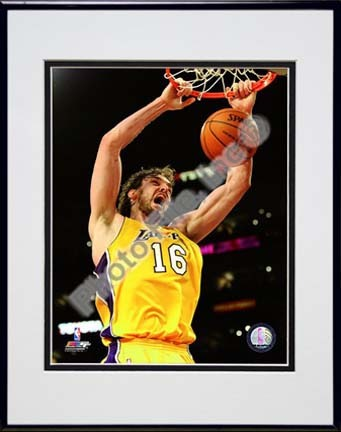 """Pau Gasol 2009 - 2010 Playoff Action """"Home Jersey"""" Double Matted 8"""" x 10"""" Photograph in Black Anodized Alu"""