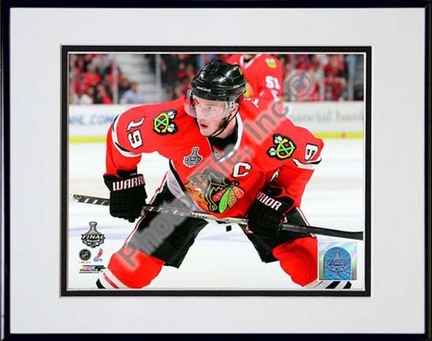 """Jonathan Toews Game One of the 2010 NHL Stanley Cup Finals (#2) Double Matted 8"""" x 10"""" Photograph in Black Anodized"""