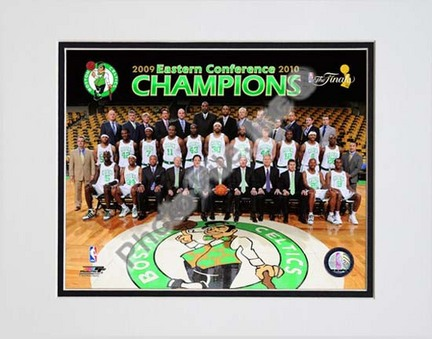 """Boston Celtics 2009 - 2010 Team Photo with Eastern Conference Champions Overlay Double Matted 8"""" x 10"""" Photograph (U"""