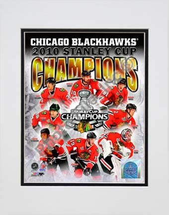"""Chicago Blackhawks 2009 - 2010 Stanley Cup Champions Composite Double Matted 8"""" x 10"""" Photograph (Unframed)"""
