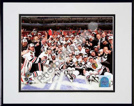 """Chicago Blackhawks 2009 - 2010 Team Celebration on Ice Double Matted 8"""" x 10"""" Photograph in Black Anodized Aluminum"""