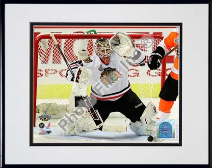"Antti Niemi 2009 - 2010 Stanley Cup Finals Action (#22) Double Matted 8"" x 10"" Photograph in Black Anodized Aluminum"