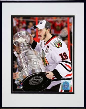"Jonathan Toews with the 2009 - 2010 Stanley Cup (#26) Double Matted 8"" x 10"" Photograph in Black Anodized Aluminum F"