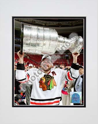 """Patrick Sharp with the 2009 - 2010 Stanley Cup (#28) Double Matted 8"""" x 10"""" Photograph (Unframed)"""
