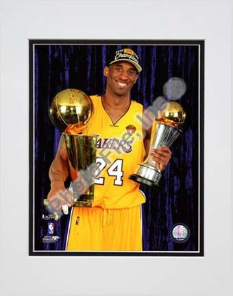 "Kobe Bryant with 2010 MVP & Championship Trophies in Studio (#29) Double Matted 8"" x 10"" Photograph (Unframed)"
