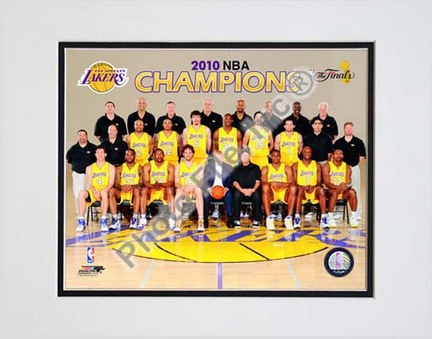"""Los Angeles Lakers Team Sit Down with 2009 - 2010 NBA Champions Overlay (#31) Double Matted 8"""" x 10"""" Photograph (Unf"""