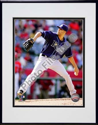 "David Price 2010 Action """"Dark Blue Jersey"""" Double Matted 8� x 10� Photograph in Black Anodized Aluminum Frame"" PHF-AAMK241-37"