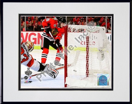 """Patrick Kane Game Five of the 2010 NHL Stanley Cup Finals Goal (#20) Double Matted 8"""" x 10"""" Photograph in Black Anod"""