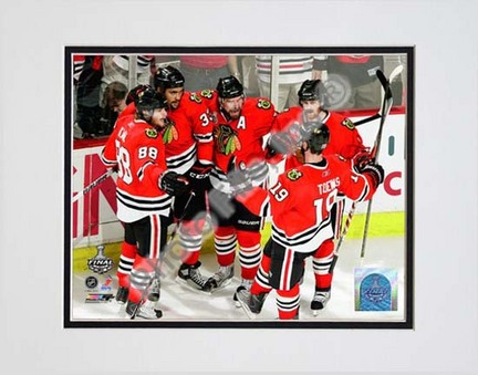 Patrick Kane, Dustin Byfuglien, Patrick Sharp, Duncan Keith, & Jonathan Toews Celebrate Byfuglien's Goal Game Five of the 2010 NHL Stanley Cup Finals (#21) Double Matted 8� x 10� Photograph (Unframed) PHF-AAML083-33