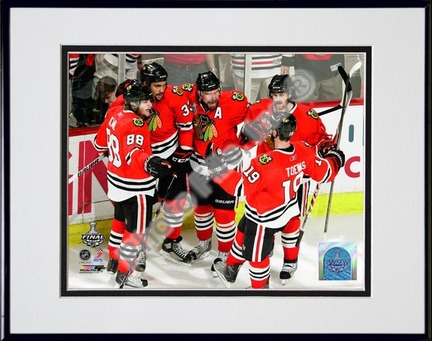 Patrick Kane, Dustin Byfuglien, Patrick Sharp, Duncan Keith, & Jonathan Toews Celebrate Byfuglien's Goal Game Five of the 2010 NHL Stanley Cup Finals (#21) Double Matted 8� x 10� Photograph in Black Anodized Aluminum Frame PHF-AAML083-37