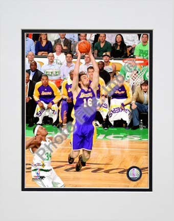 """Pau Gasol Game Three of the 2010 NBA Finals Action (#7) Double Matted 8"""" x 10"""" Photograph (Unframed)"""