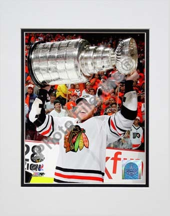 """Marian Hossa with the 2009 - 2010 Stanley Cup (#30) Double Matted 8"""" x 10"""" Photograph (Unframed)"""