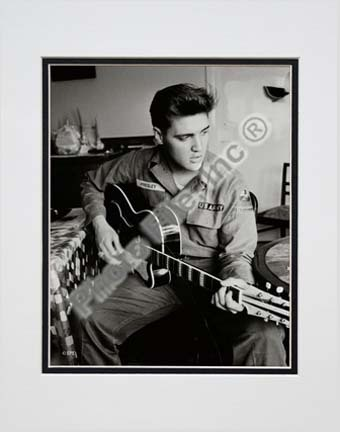 """Elvis Presley Wearing US Army Jacket (#2) Double Matted 8"""" x 10"""" Photograph (Unframed)"""