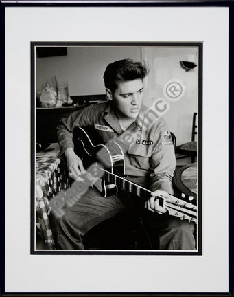 Elvis Presley Wearing US Army Jacket (#2) Double Matted 8†x 10†Photograph in Black Anodized Aluminum Frame