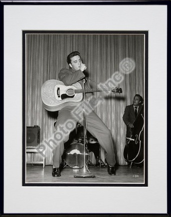 """Elvis Presley Singing and Dancing (#7) Double Matted 8"""" x 10"""" Photograph in Black Anodized Aluminum Frame"""