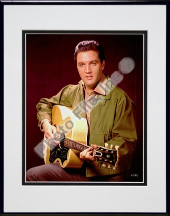 """Elvis Presley Wearing Olive Jacket (#8) Double Matted 8"""" x 10"""" Photograph in Black Anodized Aluminum Frame"""