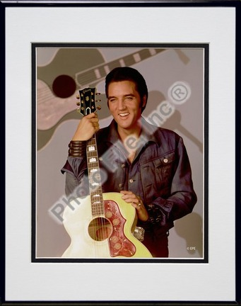 """Elvis Presley Holding Gibson Guitar (#9) Double Matted 8"""" x 10"""" Photograph in Black Anodized Aluminum Frame"""