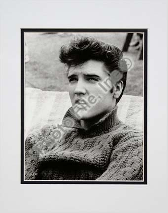 "Elvis Presley Wearing Sweater (#11) Double Matted 8"" x 10"" Photograph (Unframed)"
