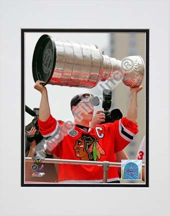 """Jonathan Toews Chicago Blackhawks 2010 Stanley Cup Champions Victory Parade (#49) Double Matted 8"""" x 10"""" Photograph"""